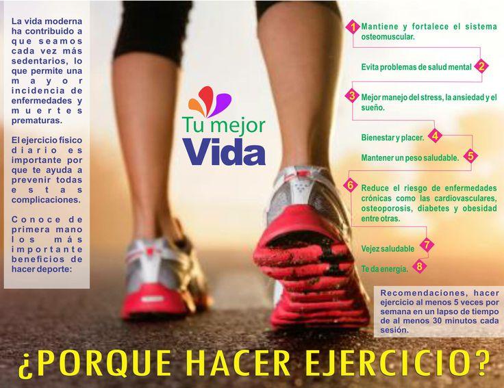 #SaludTumejorvida Hacer ejercicio es algo que en ocasiones nos cuesta ¿Qué tal si conocemos los beneficios que el ejercicio le aporta a nuestra salud? ¡Esta es una excelente receta para estar saludables!
