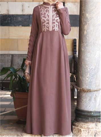 Embroidered Gown with Side Pleats - SHUKR International