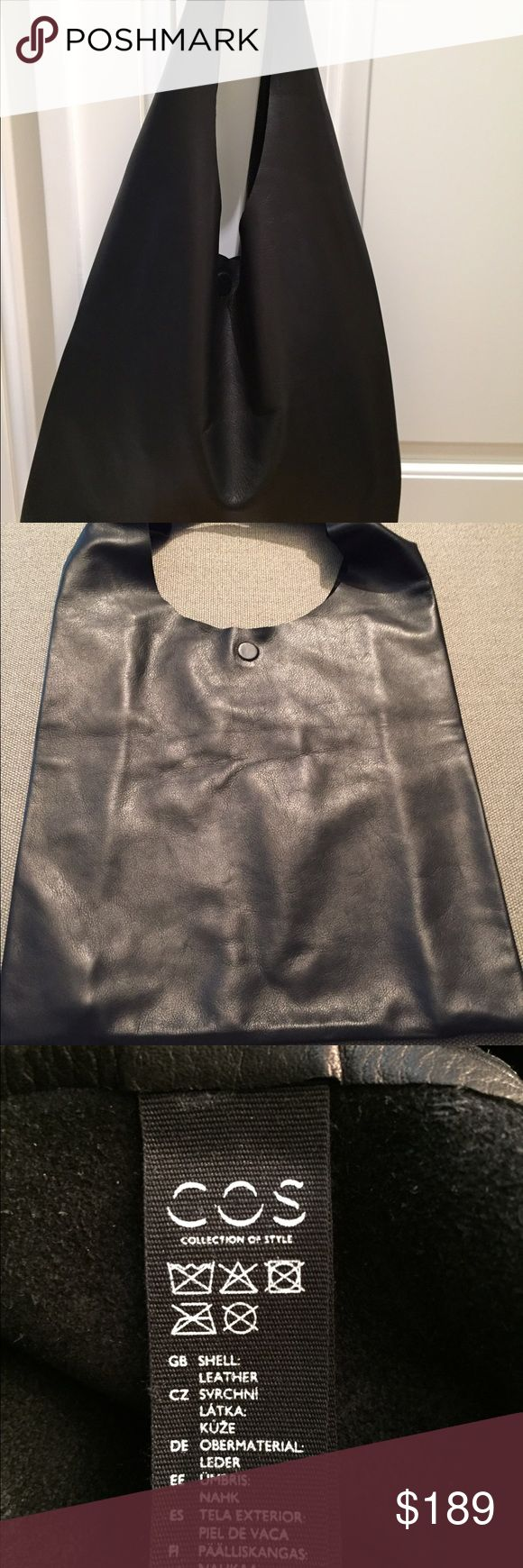 """COS Unstructured Shopper Bag, black leather Made from soft leather with a subtle grained finish, this large leather bag has a single unlined compartment and a magnetic button fastening. A casual style, it can be held by the handles or worn over the shoulder. 14 1/2"""" x 14 1/2"""".  100% leather. COS Bags Totes"""