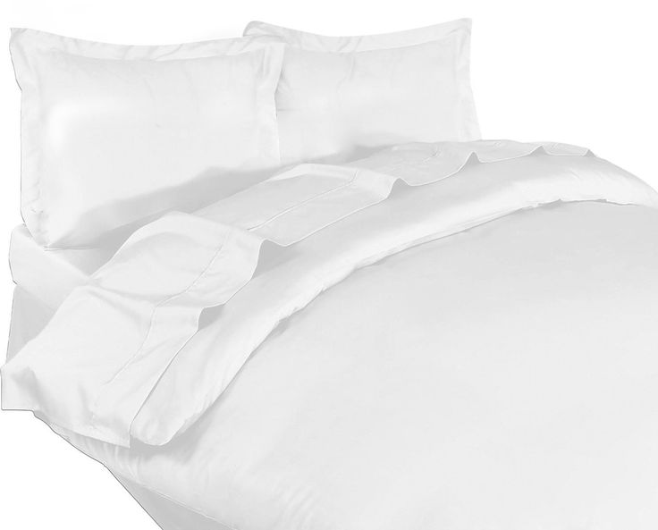 3 Piece Cotton Sateen Duvet Cover Set (White) - Duvet Cover with 2 Pillow Shams - Premium Quality Combed Cotton Long Staple Fiber - by Utopia Bedding