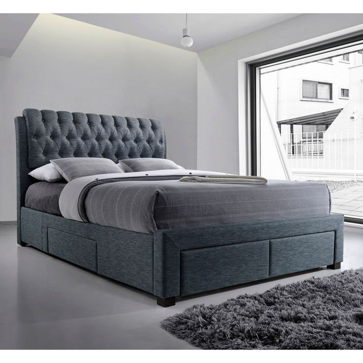 Artisan Button Back Fabric Bed with Drawers