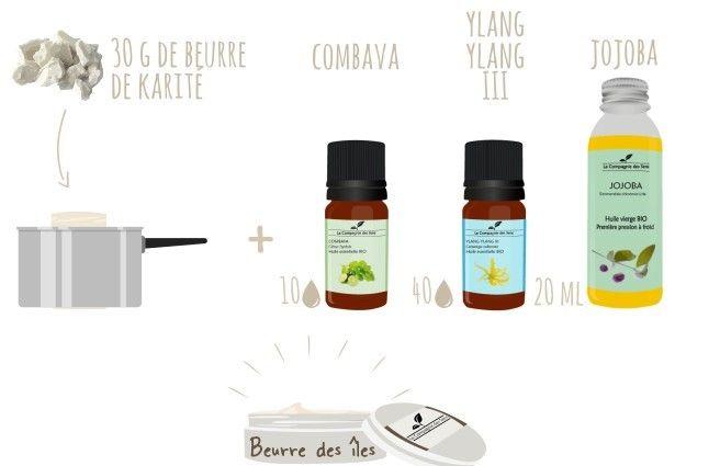 Créer votre propre beurre corporel senteur des îles avec 4 ingrédients !  - 30 g de beurre de Karité   - 20 mL d'huile végétale de Jojoba   - 40 gouttes d'huile essentielle d'Ylang Ylang III   - 10 gouttes d'huile essentielle de Combava