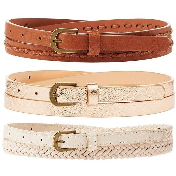 Charlotte Russe Braided & Metallic Belts - 3 Pack ($5.59) ❤ liked on Polyvore featuring accessories, belts, rose gold, metallic belts, golden belt, woven belt, braided belt and charlotte russe