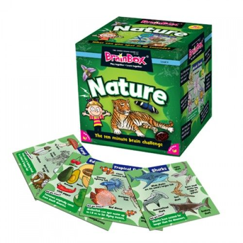 BrainBox Nature is packed full of interesting facts about nature in 70 beautifully-illustrated cards. The object of the game is to study a card for 10 seconds and then answer a question based on the roll of a die. If the question is answered correctly, the card is kept and the person with the most number of cards after 5 or 10 minutes is the winner. This simple concept can be played by all ages and in large groups as well as a 1 person game. #nature #brainbox #learning #camelotkids