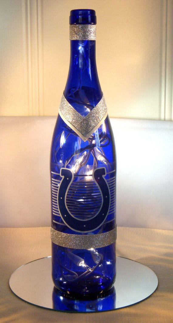 Indianapolis Colts Wine Bottle Lamp by EcoArtbyNancy on Etsy, $25.00