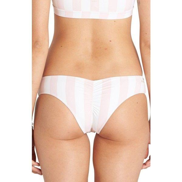 Women's Billabong No Worries Hawaii Lo Bikini Bottoms ($45) ❤ liked on Polyvore featuring swimwear, bikinis, bikini bottoms, seashell, tan bikini, bottom bikini, scrunch bottom bikini, retro bikini bottom and ruched bikini