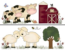 FARM BARNYARD ANIMALS COW HORSE PIG SHEEP BABY NURSERY WALL BORDER STICKER DECAL