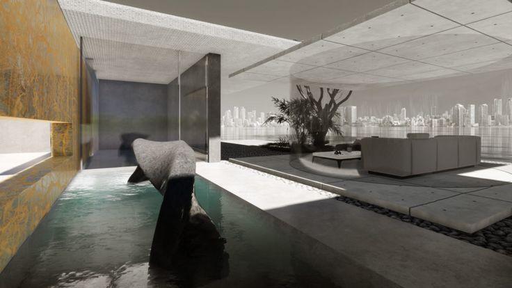 Design für einen modernen Ausstellungsraum. Showroom Architektur für einen Mö…