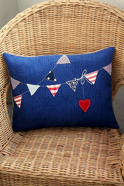 bunting heart patchwork cushion