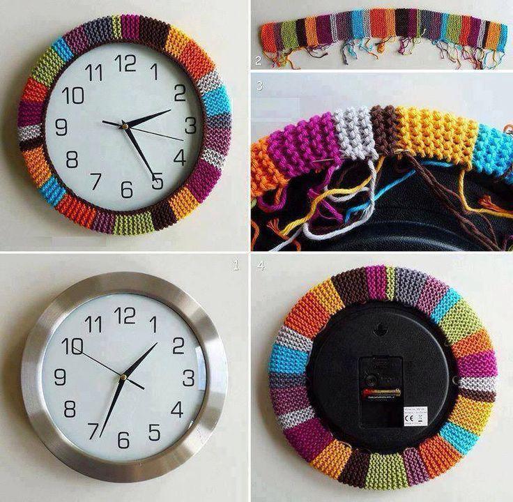 borde tejido para adornar reloj de pared