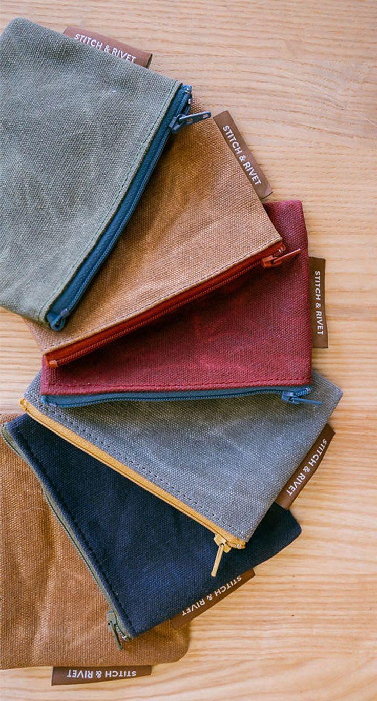 wallet keys phone bags waxed canvas bag The Minimalist