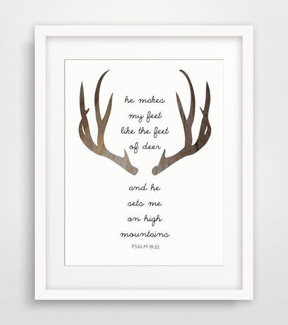 Nursery Deer Bible Verse, Scripture Print, Scripture Wall Art, Psalms Print, Deer Antlers, Christian Bible Verse, Modern Wall Art - Multiple Sizes on Etsy, $5.00