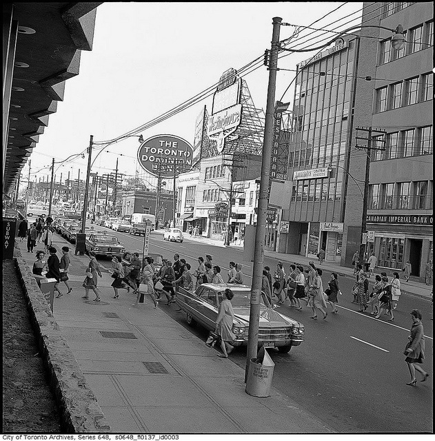 Yonge Street outside Eglinton station by Toronto History, via Flickr