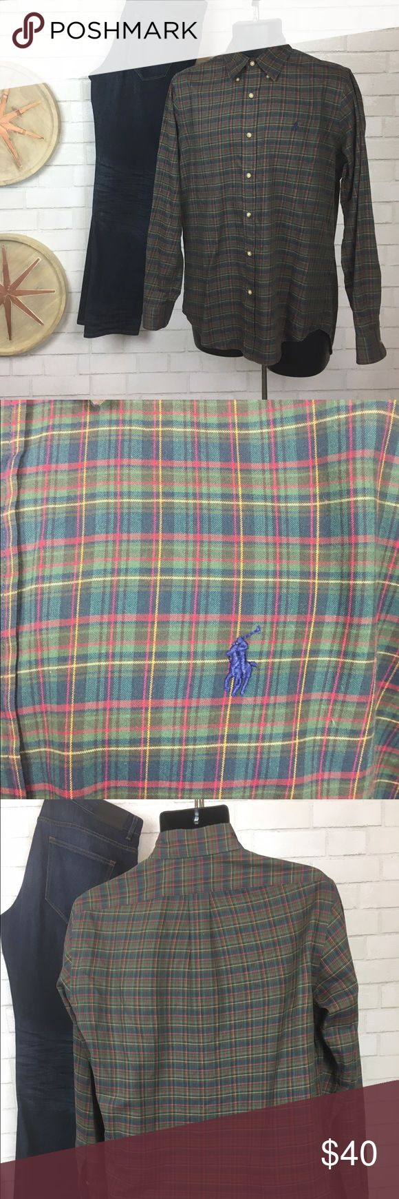 Ralph Lauren Plaid Dress Button Down Great condition shirt, clean and free of stains and tears. Only mark is sharpie inside of Tag, but not noticeable when worn. Blue, green, red make up the main colors of shirt Ralph Lauren Shirts Dress Shirts