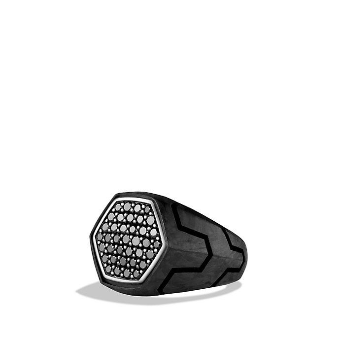 Forged Carbon Signet Ring with Black Diamonds