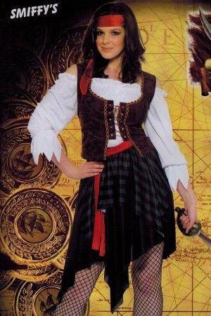 Piratenkostüm für Damen Piratin Kostüm Freibeuterin Piratinnen Damenkostüm braun Gr. S - XXL (36 - 54)