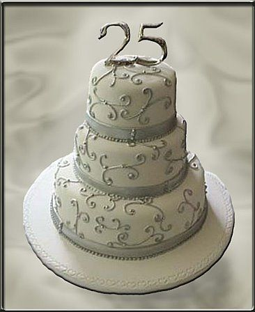 13 best 25th Anniversary Cake images on Pinterest Silver