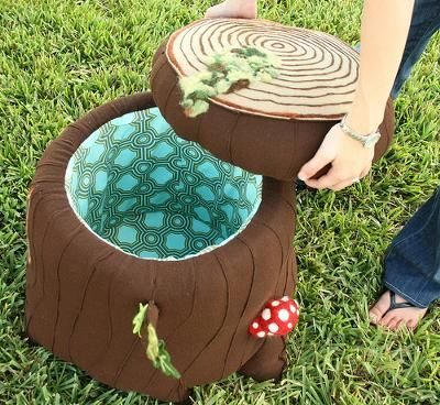 Felted wool project mushroom stool for an enchanted forest baby nursery theme or Alice in Wonderland room