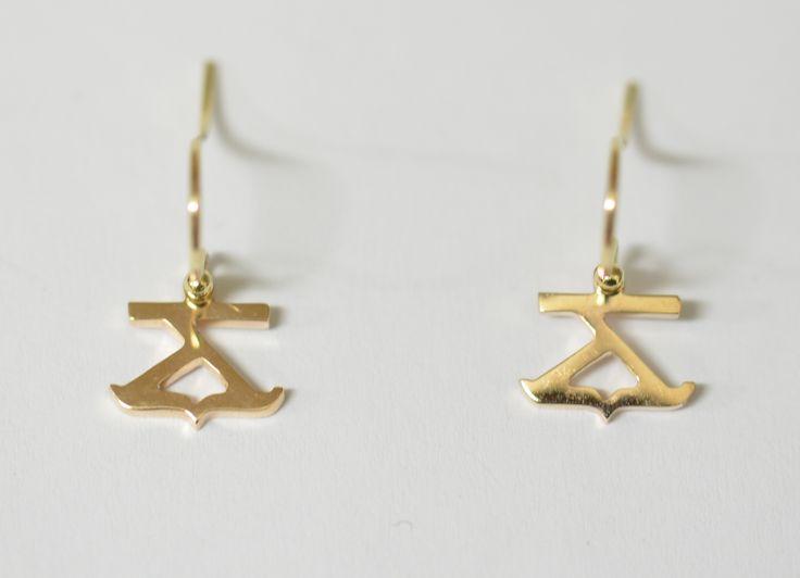9ct yg cattle brand earrings drop