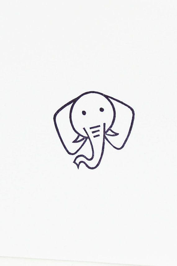 Reizender Elefant-Stempel – Elefantkopfstempel, Hand geschnitzter einfacher Stempel – afrikanischer Tierstempel, Zoostempel, Elefantbriefpapier