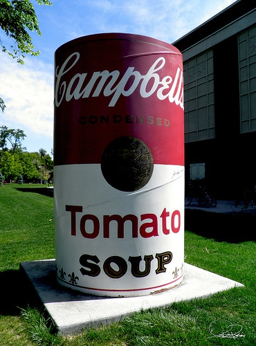 "Campbell's Soup Can - Fort Collins, CO  -One of the three Campbell's Tomato Soup Cans signed by Andy Warhol. The soup cans, created in collaboration with Warhol for the opening of the ""Warhol at Colorado State University"" exhibit, were signed by Warhol upon his arrival at the art building on Sept. 1, 1981. - Photo by J. Price, Please follow the pin to see more!"