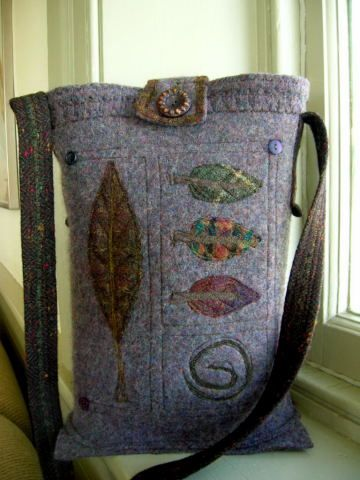 Lydia Dierwechter. one-of-a kind purses, pillows and throws created from felted recycled wool
