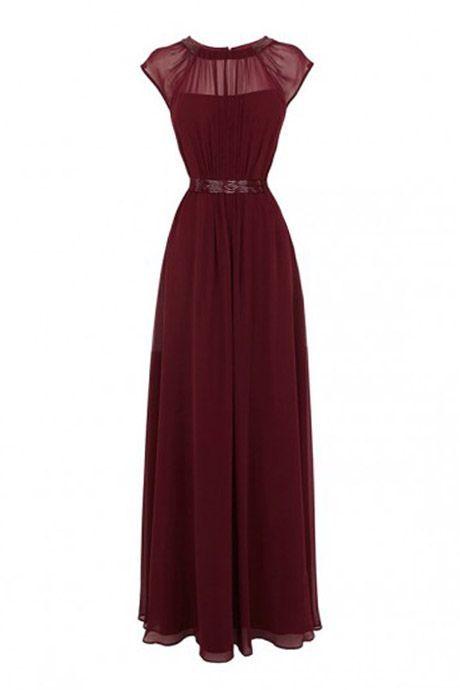 Jewel A-line Floor Length Chiffon Burgundy Prom/Evening Dress With Beading