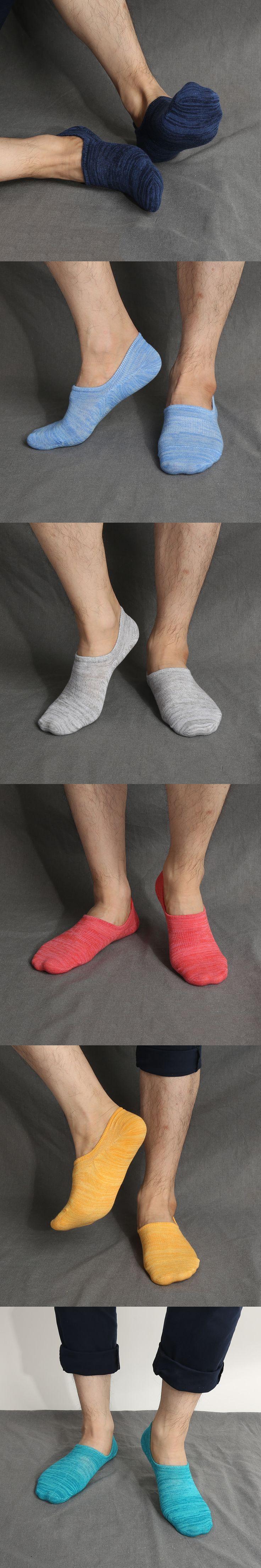 1Pair Breathable Summer Silicone Anti-slip Men Short Socks Retro Invisible Socks Casual Cotton Thin Socks 6 Colors Available