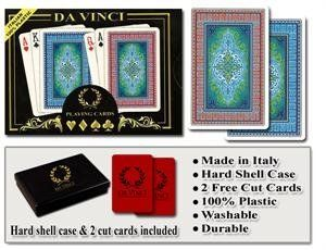 Da Vinci Sienna - Italian 100% Plastic Playing Cards by Da Vinci. $15.08. Da Vinci 100% Plastic playing cards are the world's finest playing cards. Da Vinci cards are designed and manufactured in Italy by Modiano. Since 1868, the Modiano brand has been synonimous with quality playing cards. Da Vinci plastic playing cards are manufactured using the finest plastic and are comparable or better than both KEM or Copag cards and at less than half the price of Kem ca...