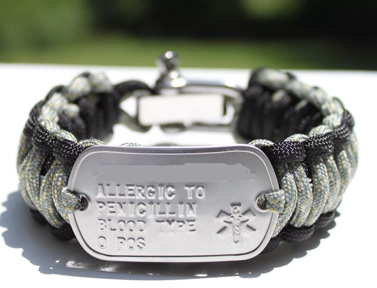 Medical Alert ID Dog Tag King Cobra 550 Paracord Survival Strap Bracelet with ADJUSTABLE Stainless Steel Shackle. $35.00, via Etsy.