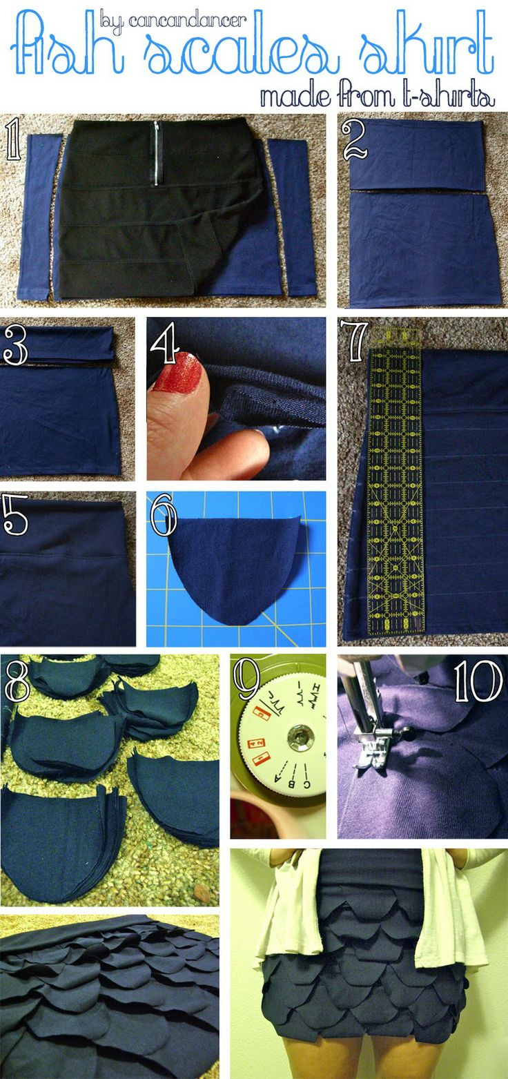 DIY Fish Scales Skirt (made from old t-shirts)
