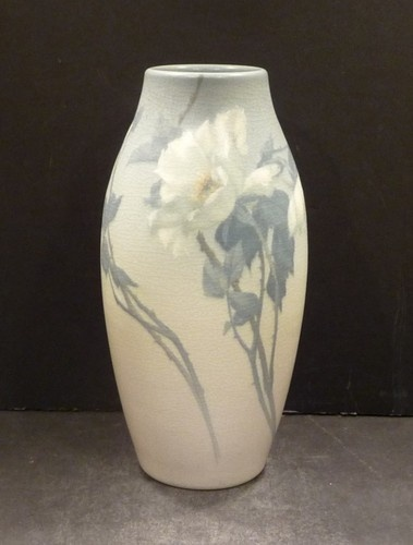 """Rookwood Vellum  Vase With White Roses, 8 5/8"""",  Rothenbusch"""