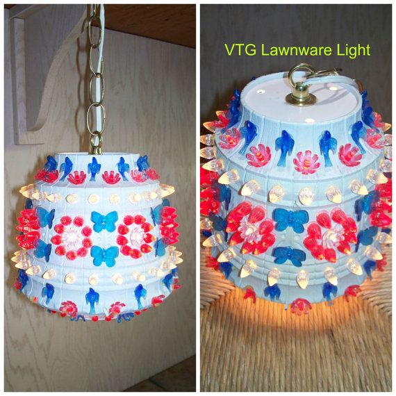 Vintage lawnware 237 red white blue floral with for Rv outdoor decorating ideas