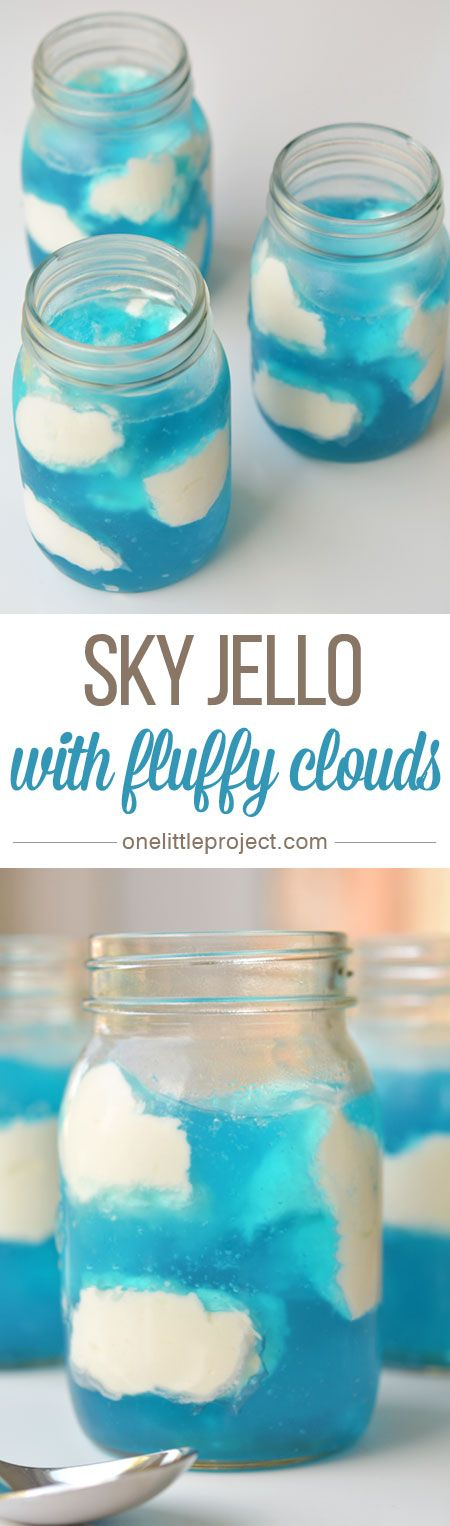 This sky jello is quick to put together and makes a SUPER FUN dessert! It's great for parties, but easy enough that you could make it on a weeknight!: