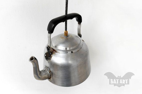 Tea Pot Pendant Light  Vintage Tea pot  Lighting Fixture by BatLab