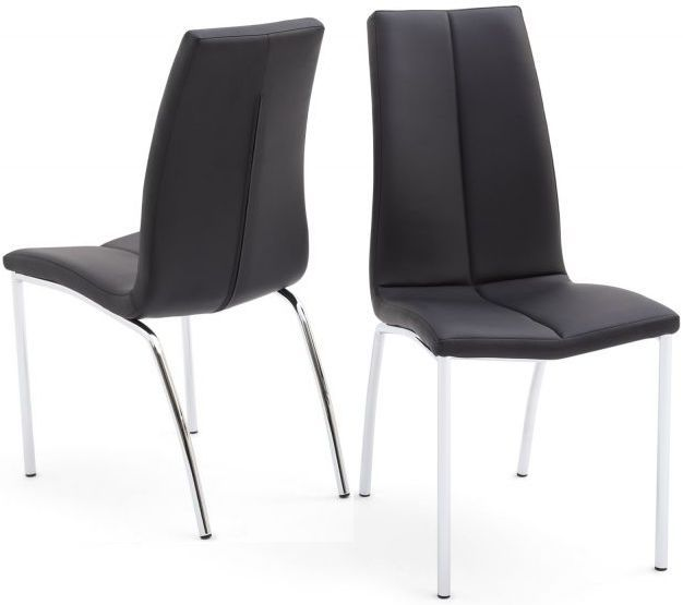 Ava Dining Chair Pair Black Faux Leather Dining Chairs