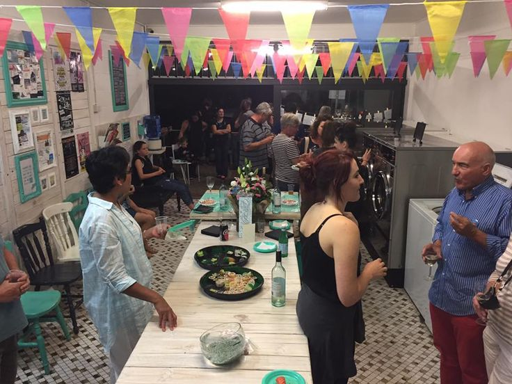 Party in a Laundromat! We've done it!  We celebrated one year of owning Koala Park Laundromat with family and friends. This was a white wine and sushi party and a lot of fun!