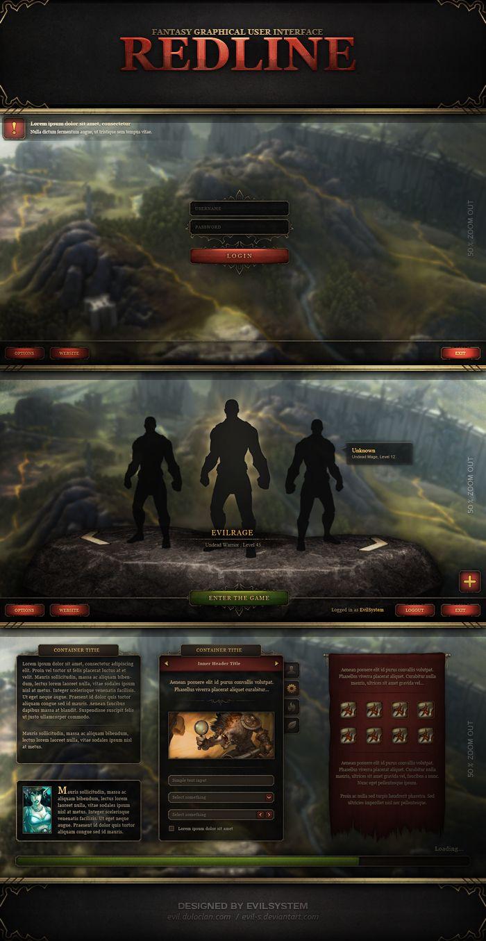 Fantasy GUI -  RedLine by Evil-S