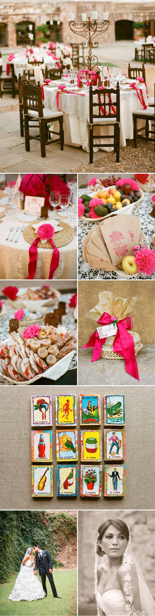 I love the big thick ribbons, super beautiful magenta pink with cream color combination #tabledeco
