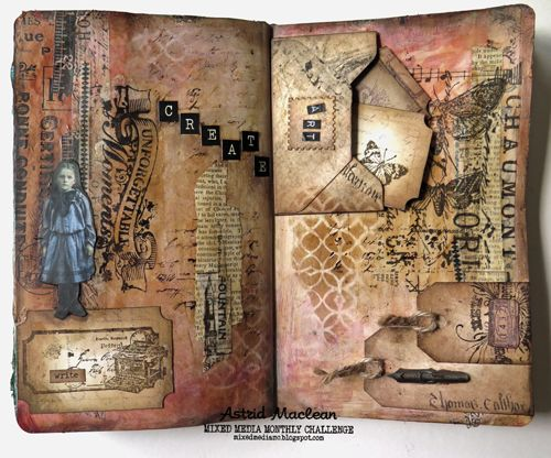 Get texty - a journal page for Mixed Media Monthly