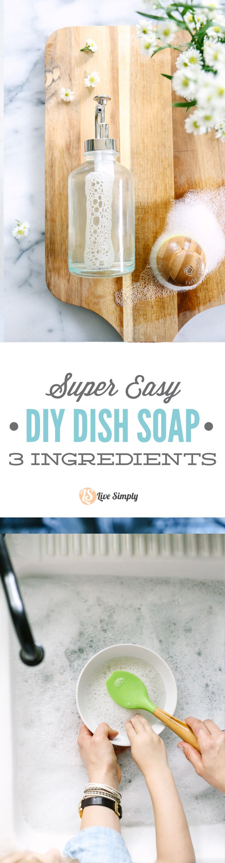 This dish soap only requires three (well, four with water) ingredients. And two of the ingredients are completely optional. Love the grease-fighting power of this soap.