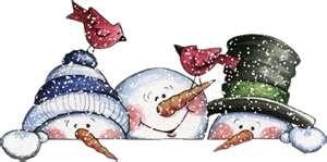 .3 snowmen peeking over... paper, fence, flower pot, wooden box, etc.