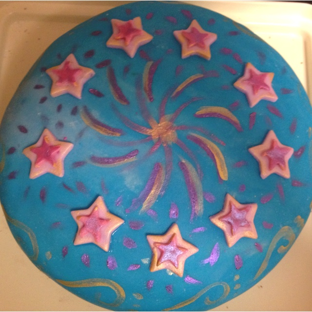 A cake I made for a lady at work, sky with shooting stars!