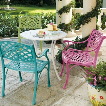 Spray painted metal chairs