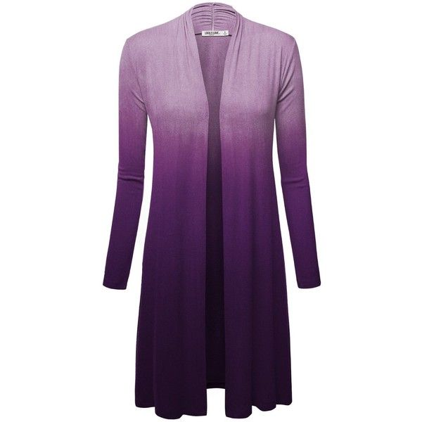 LL Womens Long Sleeve Ombre Open Front Long Cardigan with Stretch ($25) ❤ liked on Polyvore featuring tops, cardigans, ombre top, open front cardigan, stretchy tops, purple top and purple cardigan