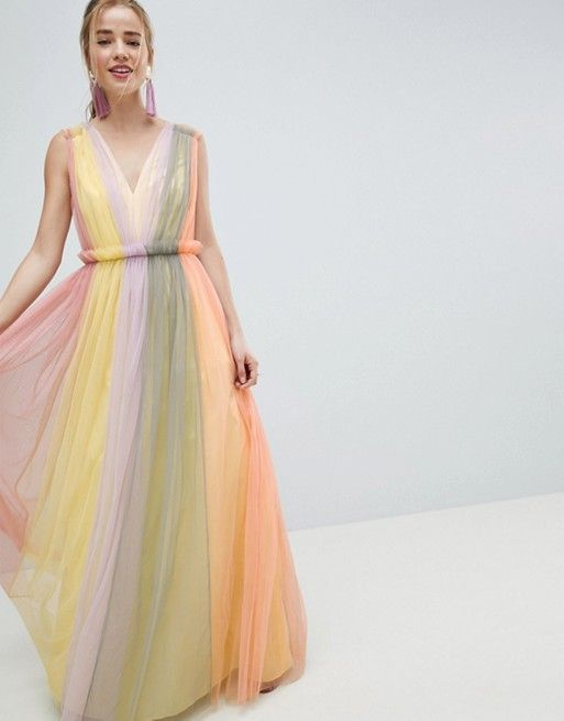 48adcac7cfcf DESIGN Tulle Maxi Dress In Pastel Color Block | | fashionista ...