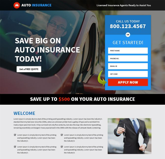Mobile friendly and professional auto insurance landing page design added to Buylandingpagesdesign.com Create your professional and auto insurance landing page template design to promote your auto insurance business online and capture quality leads. Responsive car insurance website designs are best for capturing maximum leads through different devices like smartphone, tablet, laptop as well as desktop.
