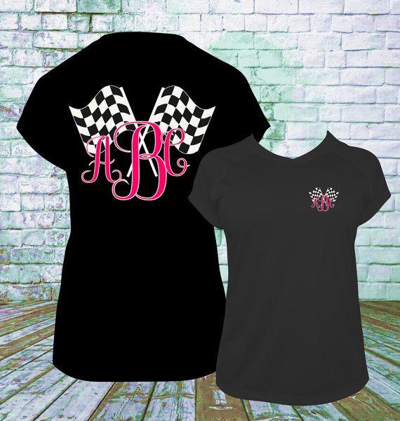 Racing Checkered Flag Monogram T Shirt, Dirt Track Racing, Drag Racing, Late Model, Sprint Car, Motorcross Racing, Mud Racing, NASCAR