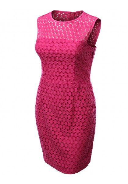 Sleeveless Polka Dot Crochet Dress #jtomsonplussize