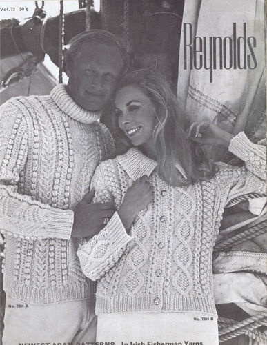 VINTAGE ARAN KNITTING PATTERN LEAFLET    Newest Aran Patterns In Irish Fisherman Yarns    Reynolds Yarns -- Copyright 1960s    ORIGINAL KNITTING PATTERN LEAFLET    Knitted Sweaters Pullovers Cardigans for Men and Women    Volume 73